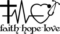 Faith Hope and Love vinyl decal with a cross heart rhythm Silhouette Vinyl, Silhouette Cameo Projects, Silhouette Design, Cricut Vinyl, Vinyl Decals, Cricut Air, Nurse Decals, Vinyl Monogram, Scan And Cut