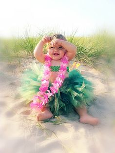 Hula Skirt Tutu...Tropical Flower Headband...Infant, Baby, Toddler...Birthday Outfit, Halloween Costume, or Photo Prop on Etsy, $28.00