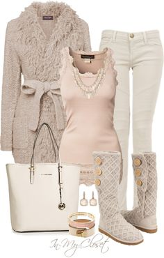 Beige sweater & Tall knit Boots.  Beige Tank Top.  White Jeans & Purse.