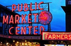 Neon signs, Pike Place Market, Seattle (© Della Huff/Alamy)