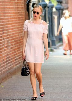 Leggy look! Chloe Sevigny stepped out in a blush pink mini dress as she stepped out in Soh...