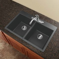 """Transolid Radius 33 """"L x B Granit Double Equal Drop-In Kitchen Sink Finish: Schwarz Double Bowl Kitchen Sink, New Kitchen, Kitchen Sinks, Kitchen Ideas, 1970s Kitchen, Kitchen Inspiration, Cooper Kitchen, Ranch Kitchen, Long Kitchen"""