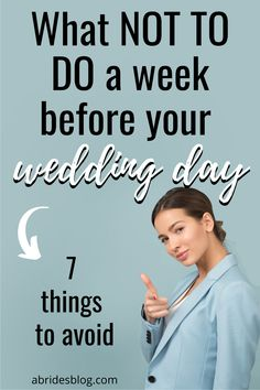 Looking for bridal beauty tips? Here are a few things a bride should NOT do the week before her wedding. #weddingbeauty #bridalbeauty #bridalmistakes Wedding Week, Before Wedding, Wedding Tips, Bridal Beauty, Wedding Beauty, Wedding Itinerary Template, Beauty And The Best, Wedding Countdown, Bride