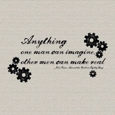 Steampunk French Jules Verne Quote Around the by DigitalThings, $1.00 Everett's Jules Verne Quilt