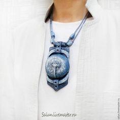 Купить Кулон Джинсовый одуванчик  из полимерной глины - индиго, синий, полимерная глина, джинсовый, одуванчик