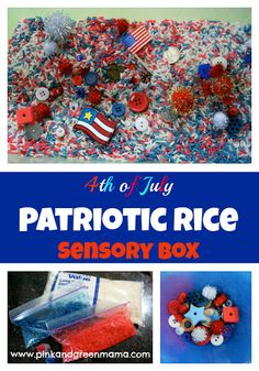 * 4th of July Patriotic Rice Sensory Box from Pink and Green Mama - great for 4th of July parties. Popular with the 3-7 year old crowd!