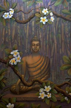 Nature Of Buddha Canvas Print / Canvas Art by Yuliya Glavnaya Lotus Buddha, Art Buddha, Buddha Artwork, Buddha Canvas, Buddha Buddhism, Buddhist Art, Pintura Zen, Budha Painting, Modern Painting