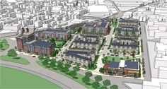 A rendering of the completed Phase One and Phase Two of the Old Colony Redevelopment in South Boston.
