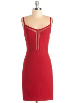 Thanks Very Mesh Dress - Mid-length, Knit, Red, Solid, Exposed zipper, Party, Girls Night Out, Valentine's, Sheath, Spaghetti Straps