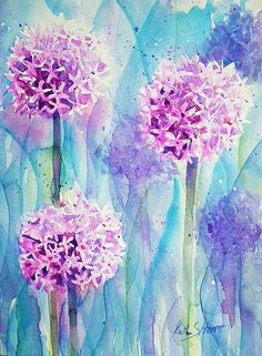 Alliums Original Watercolour Flower Painting Small by rsharts, $40.00