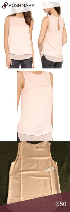 """cooper & ella • avery layered blouse in blush • s New with tags. Gorgeous top! Perfect to wear under a blazer or by itself with paired with a statement necklace. Take a look at that back button! UA to UA 18"""", length 27"""". Round neck, sleeveless, tiered hem overlay. Extended underlay with rounded hem and notched sides. Back button keyhole, lined. Currently on bloomingdales.com for $120. Cooper & Ella Tops Blouses"""
