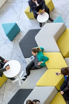 The Elements range allows you to reconfi Creative Office Space, Office Space Design, Workspace Design, Office Interior Design, Office Interiors, Office Lounge, Open Office, Sofa Design, Furniture Design