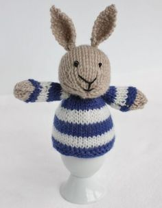 Knitted bunny egg cozy.