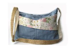 Combined Denim Zipped Bag, 6 Pockets, Floral Print, Adjustable Strap, Upcycled, Used Jeans Handmade Bag, Eco-Friendly Purse, Vegan Bag by PolarysReDenimBags on Etsy https://www.etsy.com/listing/221313779/combined-denim-zipped-bag-6-pockets
