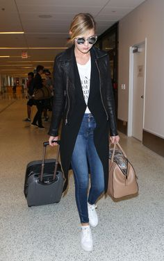 Gigi Hadid nails airport style in Ash platform white sneakers