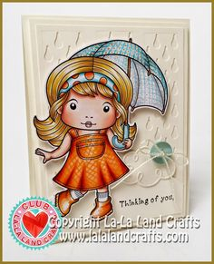 Card by Irina Blount featuring Club La-La Land Crafts (March 2015) exclusive Singing in the Rain Marci, Rainy Day Stamp Set and these Dies - Curly Clouds, Filigree Umbrella, Raindrops :-) Club La-La Land Crafts subscription details are here - http://lalalandcrafts.com/Club_La-La_Land_Crafts.html Coloring details and more Design Team inspiration here - http://lalalandcrafts.blogspot.ie/2015/03/club-la-la-land-crafts-march-2015.html
