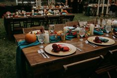 Rustic wooden tables with teal runners, pumpkin decor, fall wedding reception table idea Burgundy Wedding, Fall Wedding, Our Wedding, Rustic Wooden Table, Wooden Tables, Wedding Reception Tables, Wedding Centerpieces, Wedding Themes, Wedding Photos
