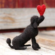 Valentine Poodle in Black  Needle Felted