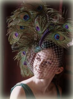 I'm SO in-love with this hat!!! Vintage Inspired Peacock Cocktail Hat by HandmadeHatsbyElla, £129.00