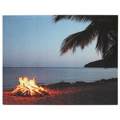 "Kennedy's Country Collection 71918 - x x - ""Beach Campfire"" Battery Operated LED Lighted Canvas (Batteries Not Included) Light Up Pictures, Light Up Canvas, Country Signs, Canvas Pictures, Abstract Wall Art, Battery Operated, Poster Prints, Led, Beach"