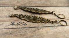 Detailed Bronzed Feather with a Dangle Earrings by LittleMsRetro, $12.00