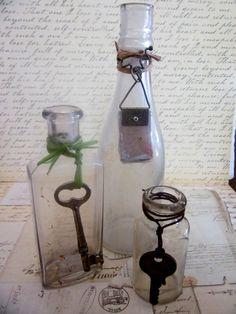 Three Old Vintage Glass Bottles With Skeleton Keys & by tuscanroad, $24.00
