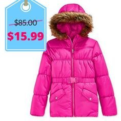 S. Rothschild & Co. Girls' Puffer Coat with Faux Fur Trim | Black Friday Kids Clothing Deals