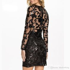 Brocade Sequin Fashion Dress 2015 Long sleeve Sexy leather decorated dress ohyeah Black women Bodycon dress for women Cheap Dresses, Elegant Dresses, Sexy Dresses, Vintage Dresses, Casual Dresses, Long Sequin Dress, Lace Dress, Dress Up Outfits, Women's Fashion Dresses