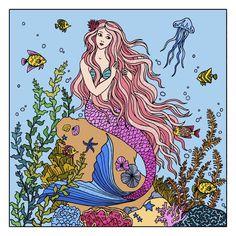 Mermaid Coloring Book, Mermaid Pictures, Mermaid Diy, Sea World, Diy Art, Mermaids, Illustrations, Coloring Books, Easy Diy