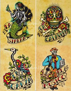 Day of the Dead Art POSTCARDS Mexican Loteria by illustratedink