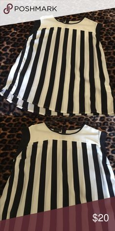 Shirt Trendy black and cream stripe blouse Tops Blouses