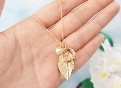 Gold Leaf Necklace. Peach Framed Glass & Pearl Necklace. Bridesmaid Gift. by PinkforYou on Etsy https://www.etsy.com/listing/176285807/gold-leaf-necklace-peach-framed-glass
