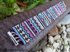 Peyote Bracelet, Indian Style Cuff, Beaded with Delica - Beautiful Handmade Jewelry Created by Sisters from the California Coast