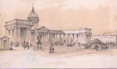 View Of The Cathedral Of Our Lady Of Kazan From Nevsky Prospekt St Petersburg Sketch