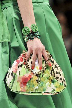 A gorgeous bag to accent the green. Details of Blugirl Spring 2012 Collection