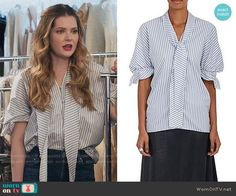 J. W. Anderson Striped Cotton Tie-Neck Blouse worn by Meghann Fahy on The Bold Type