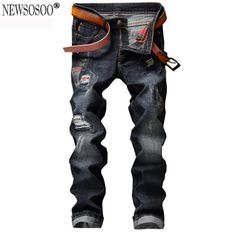 (31.55$)  Buy here - http://ai98q.worlditems.win/all/product.php?id=32785228106 - Newsosoo 2017 fashion Men's casual hole patch ripped jeans for men Slim straight black denim pants jeans hommes MJ66