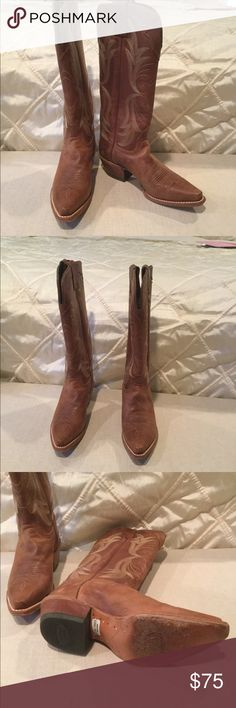 Justin Cowboy boots. Worn once! Size 6. Authentic saddle color and in perfect condition! Justin Boots Shoes Heeled Boots