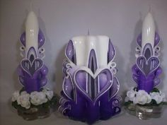 Love these purple Valentine's Day candles. $28.95
