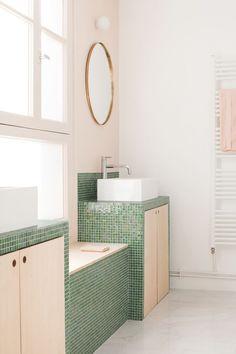 Modern bathroom design 207376757827422857 - heju architecture renovation paris loft scandinave pastel 23 Source by turbulencesdeco Pastel Bathroom, Brown Bathroom, Bathroom Colors, Bathroom Ideas, Simple Bathroom, Bathroom Rules, Gold Bathroom, Glass Bathroom, Modern Bathroom Design