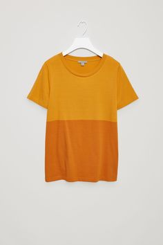 COS Colour-block cotton t-shirt in Mustard