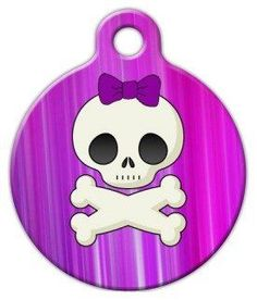 Girlie Skull - Custom Pet ID Tag for Dogs and Cats - Dog Tag Art *** Visit the image link more details.