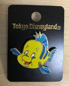 Japan Disney land Pin The little mermaid Ariel Flounder Free Shipping