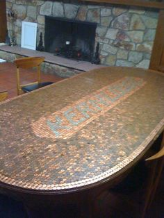 Penny Top TableDone with unpolished pennies, then polished pennies with dimes!  :)