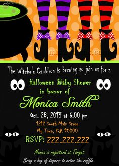 Halloween Baby Shower Witch Booths Invitation