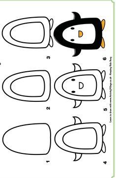 Step by step drawing : learn to draw a penguin / Dessins étapes par étapes : apprendre à dessiner un pingouin