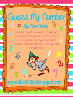 """Guess My Number from IncredibleKKids on TeachersNotebook.com -  - Guess My Number!  $   Perfect intro for a math lesson or great purposeful practice at math stations. Students will use clues to determine the mystery number. Guess My Number """"Tip Chart"""" is also included to help students. If you'd like to see th"""