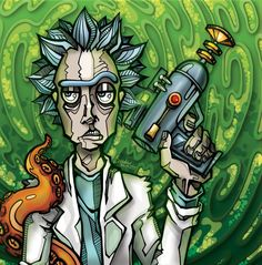 Rick and Morty Stoner Art, Bad Wolf, Back To The Future, Rick And Morty, The Simpsons, Animation, Fan Art, Graphic Design, Cartoon