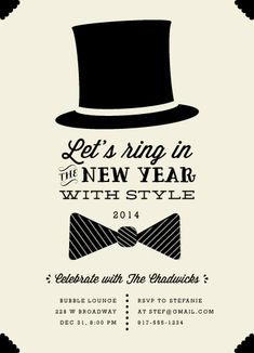 black tie by Pretty in Paper for minted Prom Invites, Party Invitations, Black Tie Party, Valentine Poster, Poster Fonts, New Years Party, Graphic Design Inspiration, Christmas And New Year, Black Tie Invitation