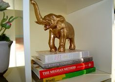We loved the DIY brass figurines Cassie from Hi Sugarplum! created and had to have a few of our own. Here's a plastic toy elephant that got a makeover with Krylon Metallic Brass Spray Paint.